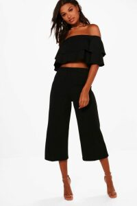 Womens Double Bandeau Top and Culotte Co-ord - black - 6, Black