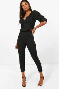 Womens Wrap Rouche Top & Trouser Co-Ord Set - black - 14, Black