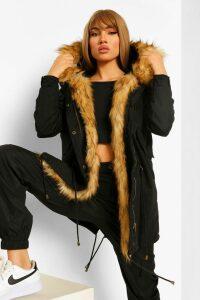 Womens Boutique Faux Fur Trim Parka - black - 8, Black