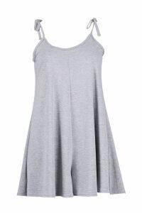 Womens Low Back Tie Shoulder Playsuit - Grey - 14, Grey