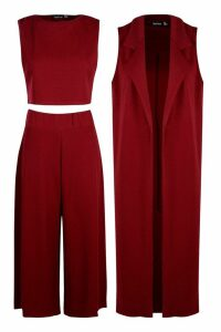 Womens 3 Piece Crop Culotte & Duster Co-Ord Set - Red - 14, Red