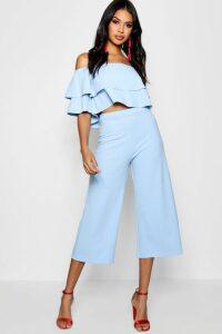 Womens Double Bandeau Top & Culotte Co-Ord Set - blue - 14, Blue