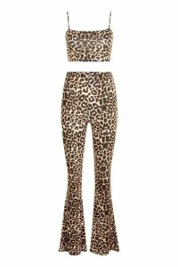 Womens Leopard Strappy Crop Top Kick Flare Trouser Co-ord Set - brown - 12, Brown