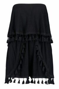 Womens Jersey Bandeau Tassel Playsuit - Black - 14, Black