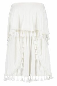 Womens Jersey Bandeau Tassel Playsuit - White - 14, White