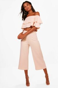 Womens Double Bandeau Top and Culotte Co-ord - pink - 12, Pink