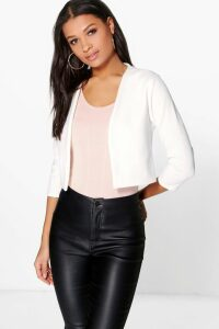 Womens Crop Ponte Edge To Edge Blazer - White - 12, White