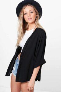 Womens Crepe Kimono - Black - M/L, Black