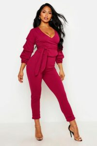 Womens Wrap Rouche Top & Trouser Co-Ord Set - Pink - 10, Pink