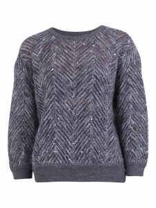 Brunello Cucinelli Chevron Motif Sweater