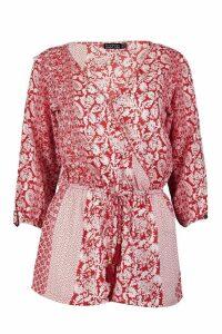 Womens Split Sleeve Tassel Trim Playsuit - red - 12, Red