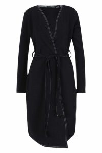 Womens Contrast Stitch Belted Jacket - black - M, Black