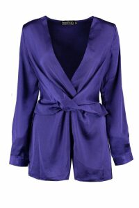 Womens Twist Front Satin Playsuit - Navy - 12, Navy