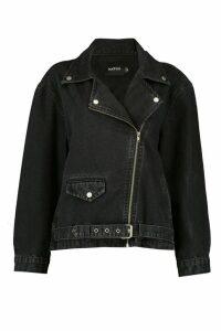 Womens Oversized Denim Biker Jacket - black - 6, Black
