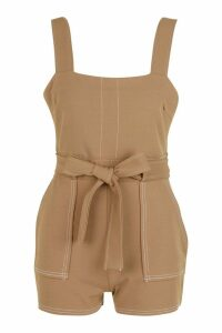 Womens Top Stitch Square Neck Pocket Playsuit - beige - 16, Beige