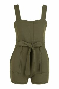 Womens Top Stitch Square Neck Pocket Playsuit - green - 16, Green