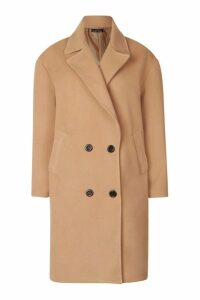 Womens Oversized Double Breasted Wool Look Coat - beige - 12, Beige