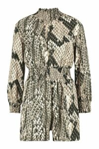 Womens Snake Print roll/polo neck Playsuit - beige - 12, Beige
