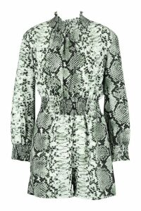 Womens Snake Print roll/polo neck Playsuit - green - 12, Green