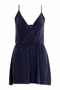 Womens Glitter Wrap Playsuit - Navy - 12, Navy