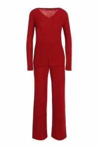 Womens Rib Wide Leg Trouser Co-Ord - red - 8, Red