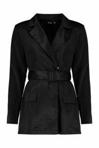 Womens Satin Belted Blazer Playsuit - Black - 10, Black
