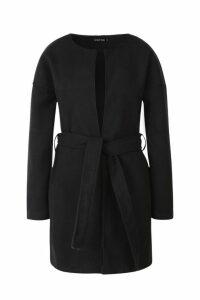 Womens Collarless Belted Wool Look Coat - Black - 10, Black