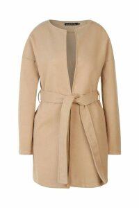 Womens Collarless Belted Wool Look Coat - Beige - 14, Beige