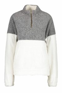 Womens Zip Through Top - grey - M/L, Grey