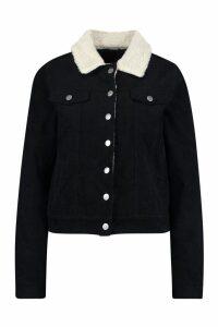 Womens Borg Collar Cord Jacket - black - 14, Black