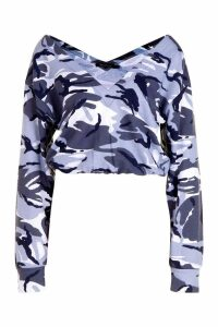 Womens Camo Cropped Sweatshirt - grey - XL, Grey