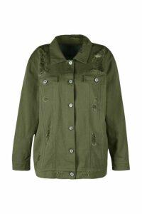Womens Plus Jemima Distressed Twill Jacket - Green - 24, Green