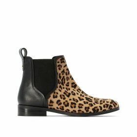 Leather Chelsea Ankle Boots with Leopard Print Front