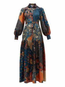 Evi Grintela - Elsa Patchwork Print Silk Maxi Shirt Dress - Womens - Blue Print