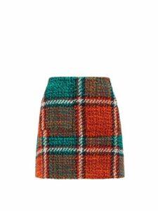 La Doublej - Checked Wool-blend Tweed Mini Skirt - Womens - Red Print