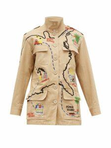 Kilometre Paris - Our American Tour Patched Cotton Jacket - Womens - Beige Print