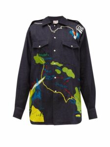 Kilometre Paris - Tropical Tour In The Usa Khadi-denim Shirt - Womens - Dark Blue