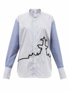Kilometre Paris - 10 Place De La Concorde Cotton-poplin Shirt - Womens - Blue Print