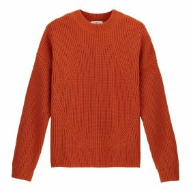 Chunky Knit Ribbed Jumper with Crew Neck