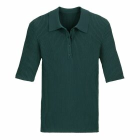 Skinny Ribbed Polo Shirt Jumper in Fine Knit with Short Sleeves