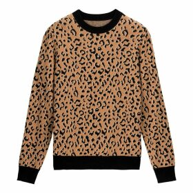 Cotton Mix Jumper in Jacquard Leopard Print