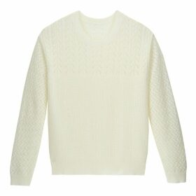 Pointelle Ribbed Jumper with Round Neck