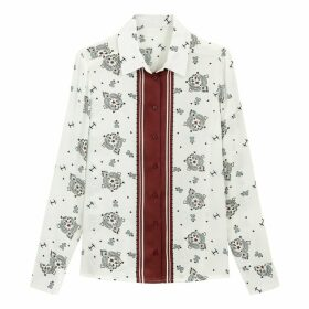 Scarf Print Shirt with Long Sleeves