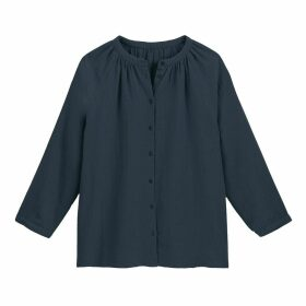 Cotton Gathered Blouse with Round Neck and Long Sleeves