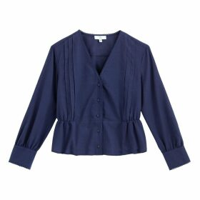 Cotton Pleated V-Neck Blouse with Long Sleeves