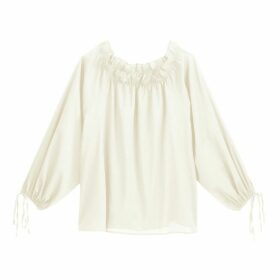 Cotton Off-The-Shoulder Blouse with Gathers and Long Sleeves