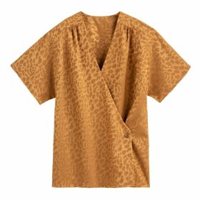 Jacquard Leopard Print Blouse with Wrapover and Short Sleeves