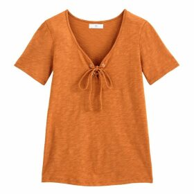 Cotton T-Shirt with Tie-Neck