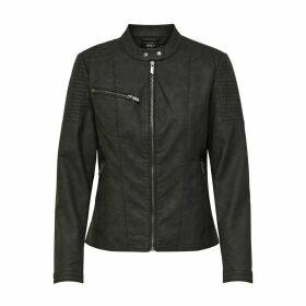 Faux Leather Biker Bomber Jacket