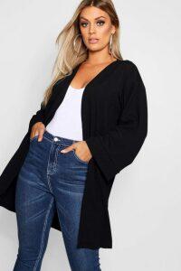 Womens Plus Kimono Sleeve Duster - Black - 16, Black